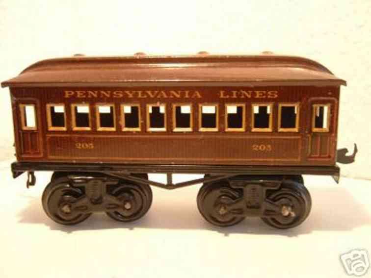 bing 528/33 205 spielzeug eisenbahn personenwagen pennsylvania lines spur 0