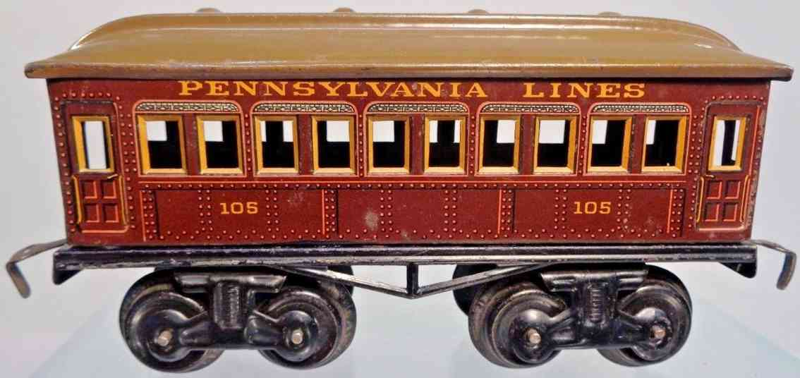 bing 528/33 205 railway toy passenger car pennsylvania lines gauge 0