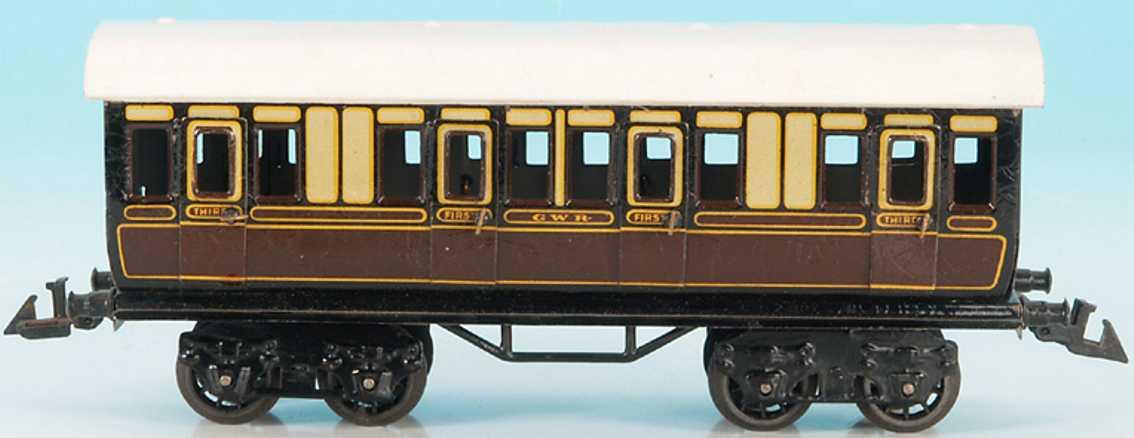 bing 62/160 GWR railway toy english compartment car brown cream gauge 0
