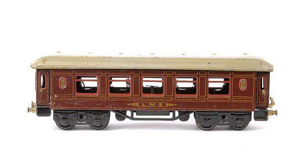 bing 62/190 lms railway toy english dining car reddish brown gauge 0