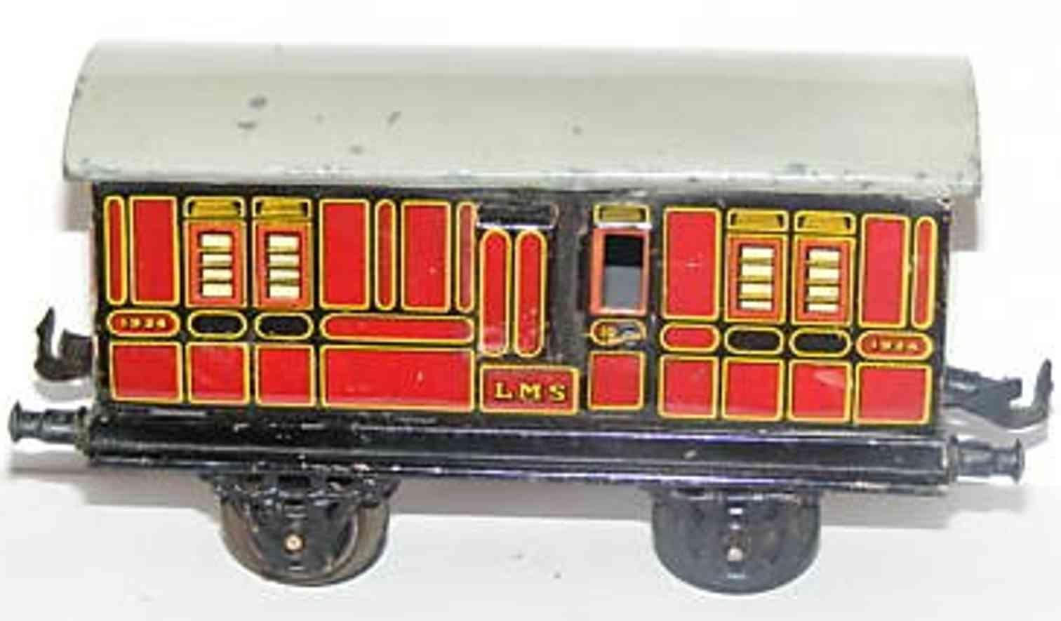 bing 62/210 lms railway toy english baggage car reddish gauge 0