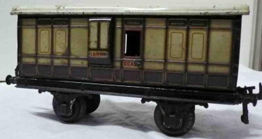 bing 62/230 lnwr railway toy baggage car white brown gauge 1