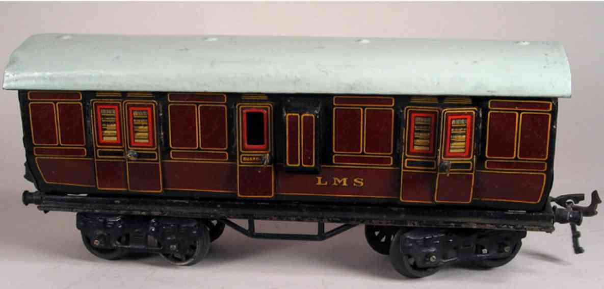 bing 62/260 lms railway toy english baggage car reddish brown gauge 0