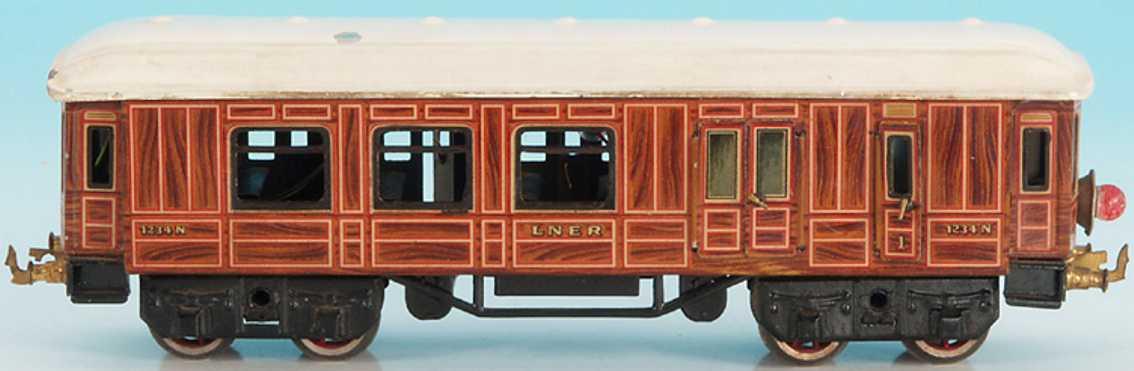 bing 62/290 lner railway toy english passenger and baggage car  teak-brown gauge 0
