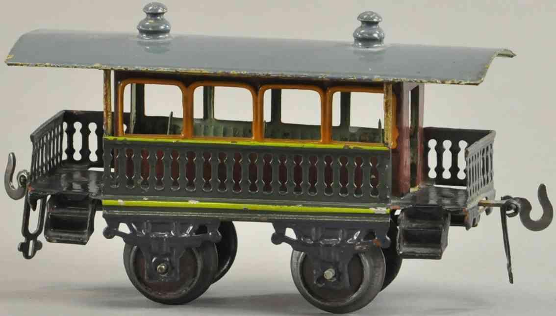 bing 7088/0 spielzeug eisenbahn personenwagen aussichtswagen rot gruen spur 0