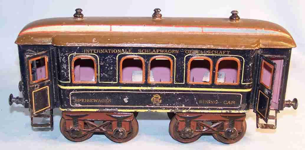 bing 7115 railway toy passenger car blue dark brown gauge 1
