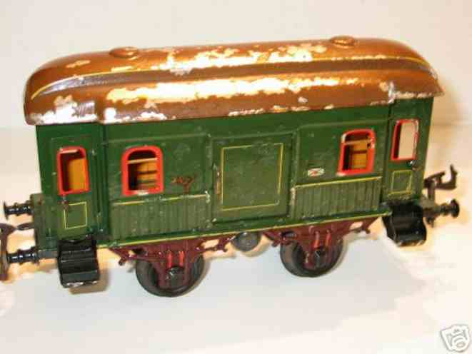 bing 7129/1 railway toy mail and baggage car green gauge 1