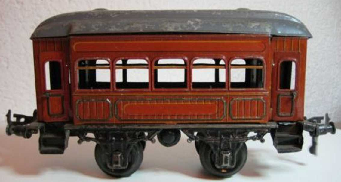 bing 7143 railway toy passenger car burgundy gauge 1