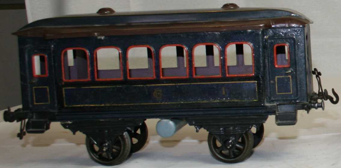 bing 7143/3 railway toy passenger car blue two fans gauge 3