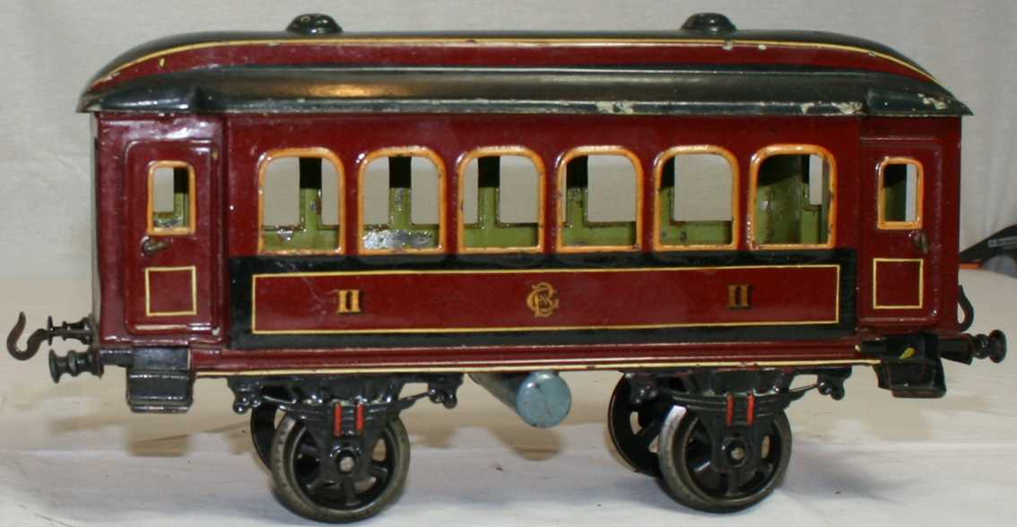 bing 7143/3 railway toy passenger car maroon two fans gauge 3