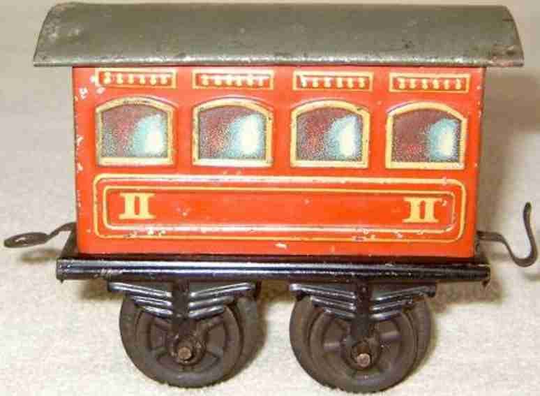 bing 8402 railway toy passenger car wine-red gauge 0