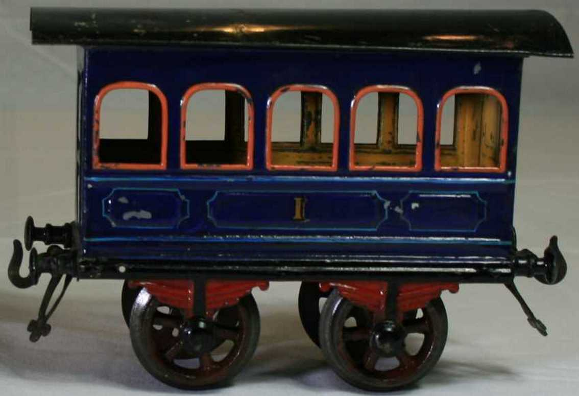 bing 8402/2 railway toy passenger car blue orange gauge 2