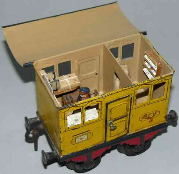 bing 9196 railway toy mail car yellow gauge 1