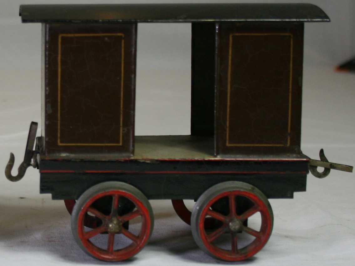bing railway toy floor train baggage car brown gauge 2