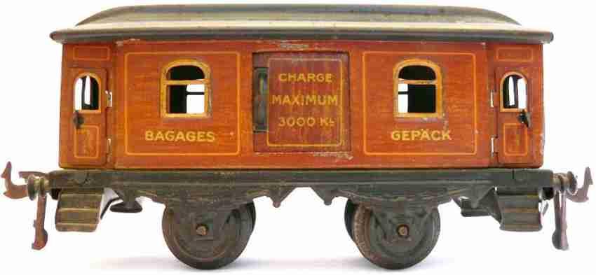 bing spielzeug eisenbahn personenwagen gepäckwagen; 2-achsig; hellbraun handlackiert, aufschriften