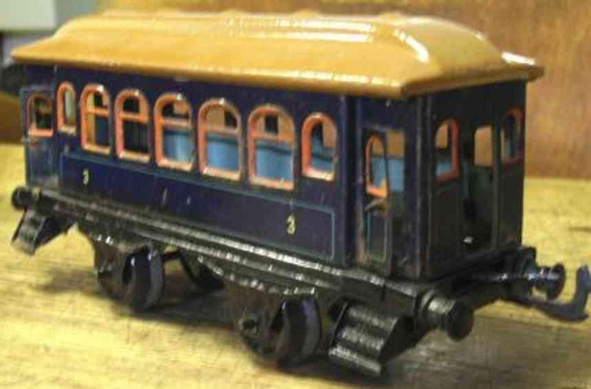 bing spielzeug eisenbahn personenwagen blau spur 0