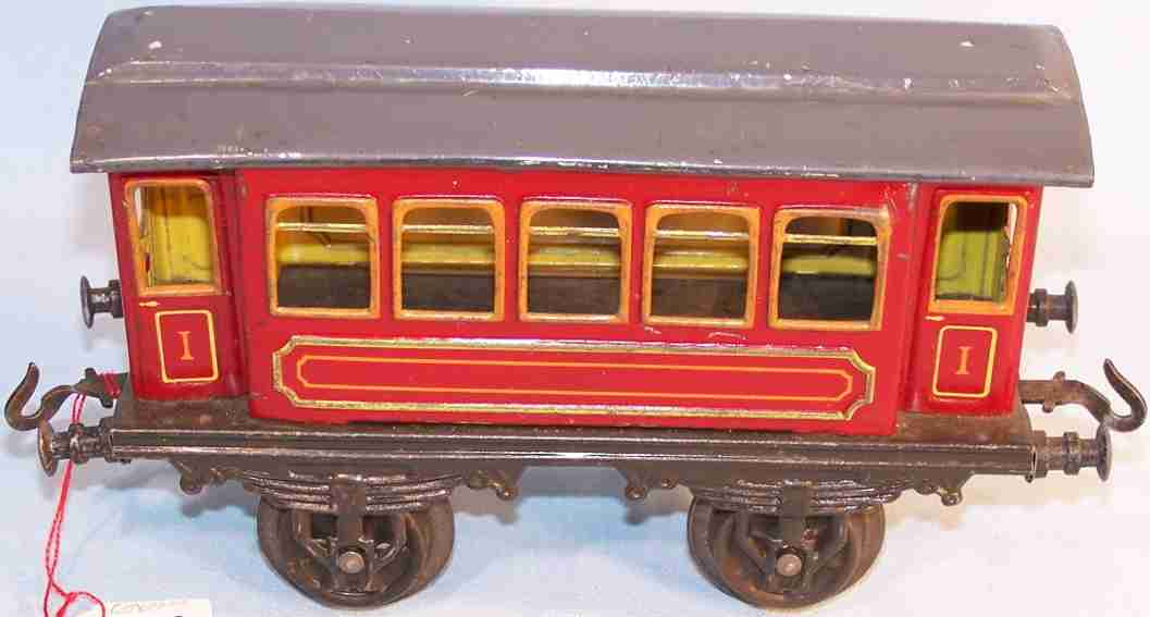 bing spielzeug eisenbahn personenwagen personenwagen 1. klasse; 2-achsig; rot und schwarz lithograf