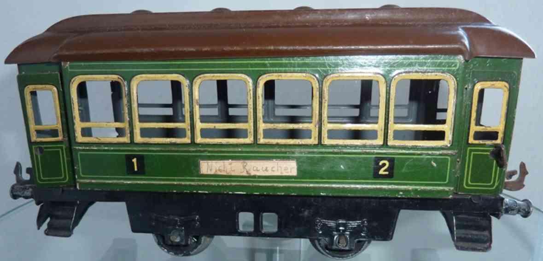 bing spielzeug eisenbahn personenwagen personenwagen; 2-achsig; grün und braun lithografiert