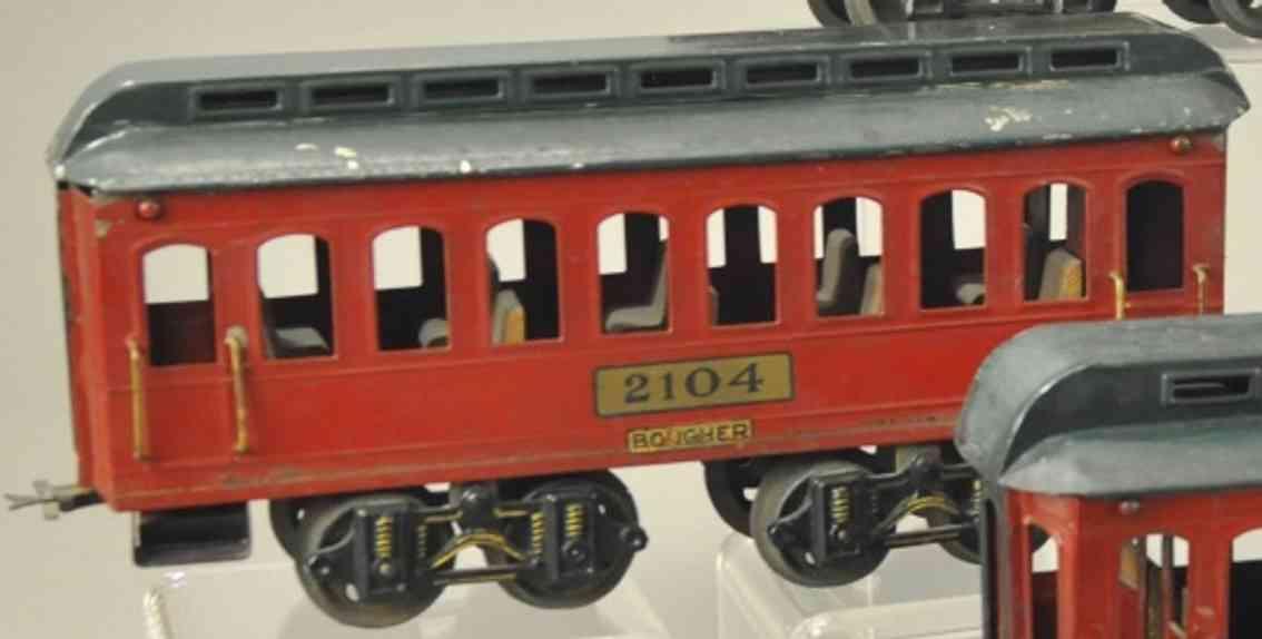 boucher he mfg co 2104 spielzeug personenwagen rot gruen standard gauge