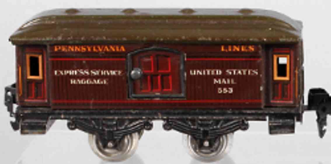karl bub 1217 G Pennsylvania railway toy baggage/mail car #1217 g with four wheels, chrome-lithograph