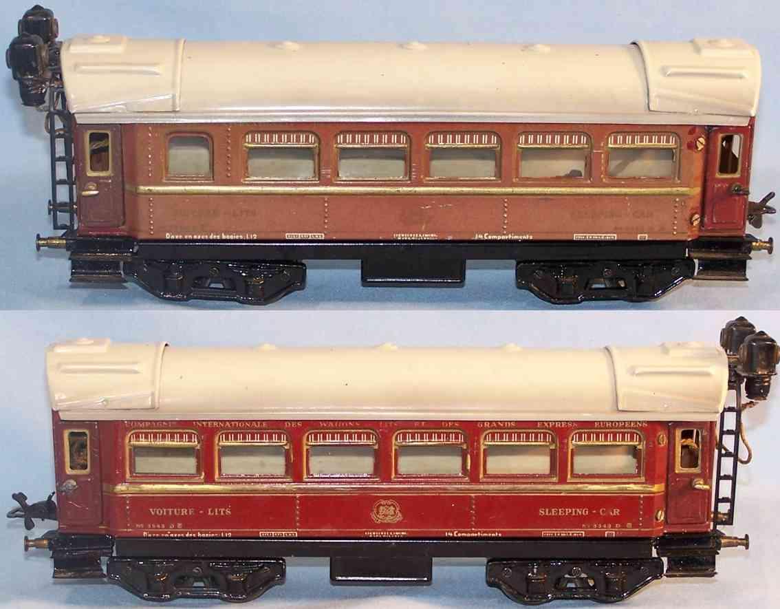 bub 3343 spielzeug eisenbahn schlafwagen rotbraun spur 0