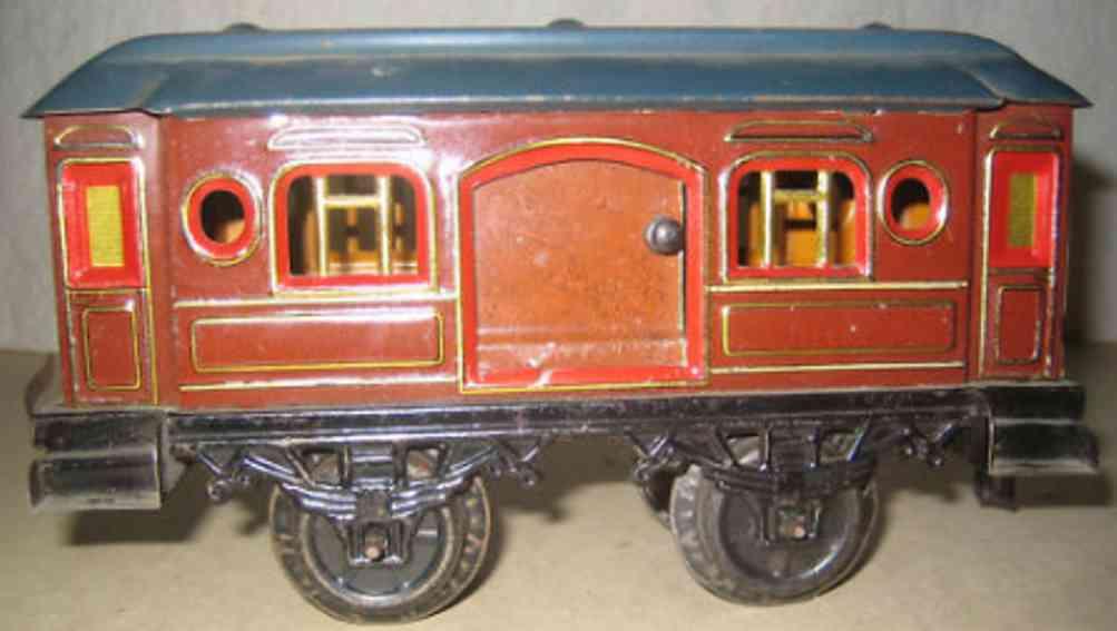 bub 561 w railway toy passenger car maroon gauge 1