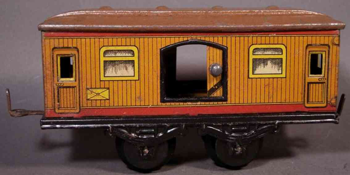 bub 875 g railway toy baggage car brown gauge 0