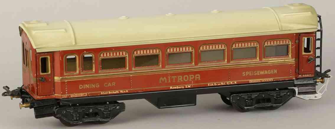 karl bub 91131 railway toy dining car mitropa maroon ivory gauge 0