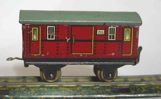 bub 923/5 railway toy table railroad baggage car maroon gauge 00