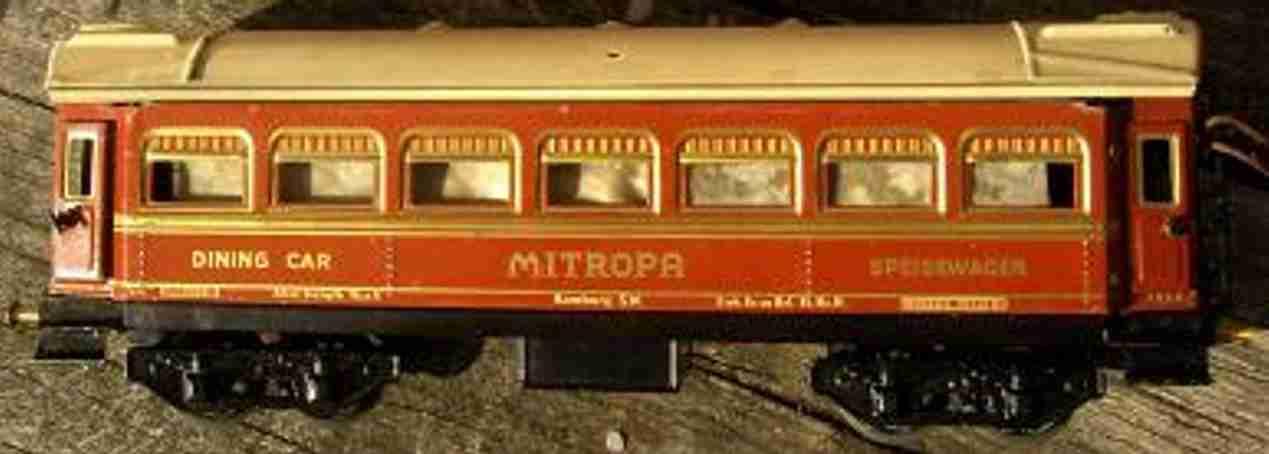 bub 9931 railway toy dining car red brown gauge 0