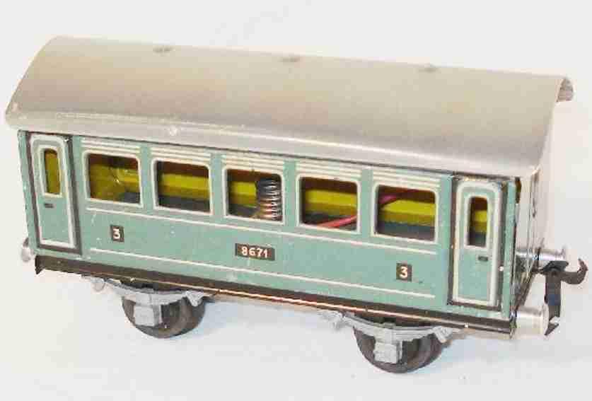 buco bucherer 8671 railway toy passenger car passenger car; 2-axis; in a cyan-colored way chrome-lithogra