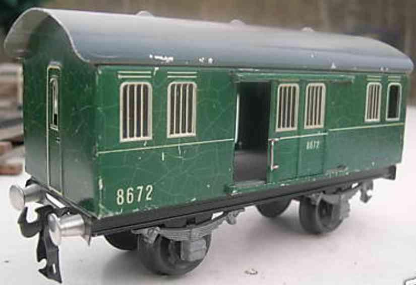 buco bucherer 8672 railway toy passenger car baggage car; 2-axis, in green