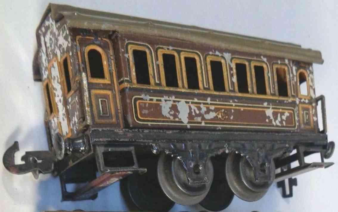carette 135/22/35 railway toy passenger car brown gauge 0