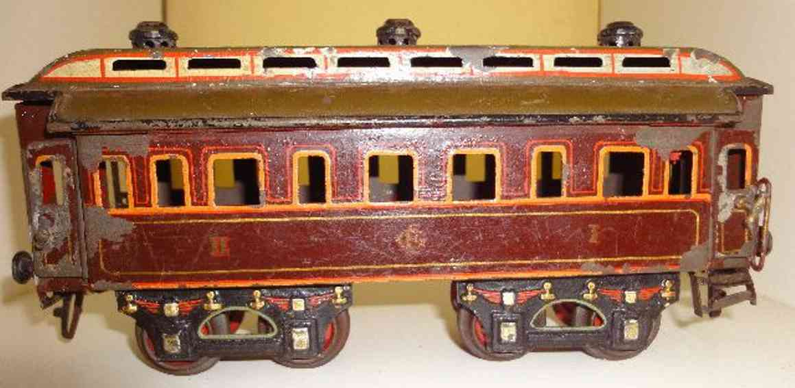 carette spielzeug eisenbahn personenwagen personenwagen; 4-achsig; handlackiert mit klappbarem dach