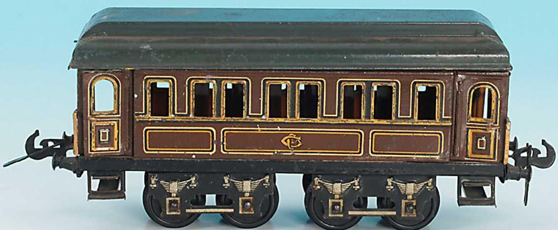 carette spielzeug eisenbahn personenwagen personenwagen; 4-achsig, braun handlackiert, graues dach