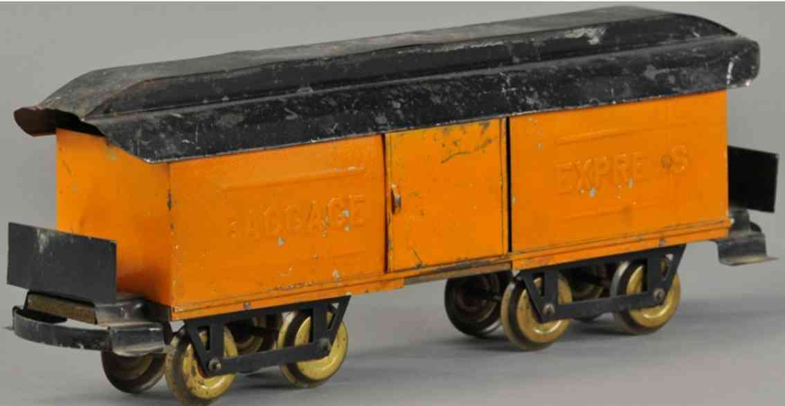 carlisle & finch 59 railway toy baggage car orange black