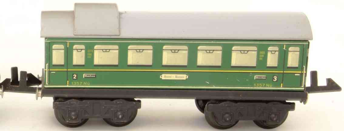 distler johann 256/4 railway toy passenger car green skylight tower gauge 0