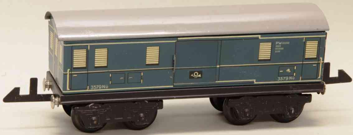 distler johann 257/4 railway toy baggage mail  car green blue gauge 0