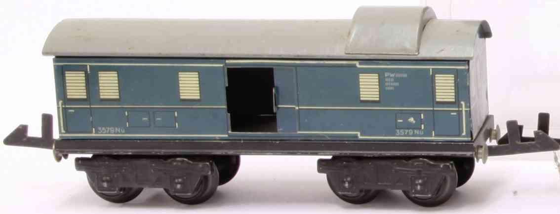 distler johann 257/4 skylight railway toy baggage car blue gauge 0