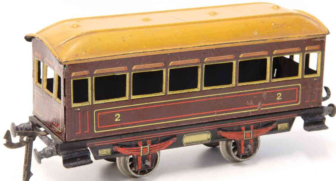 distler johann 30h braun railway toy passenger car four wheels gauge 0