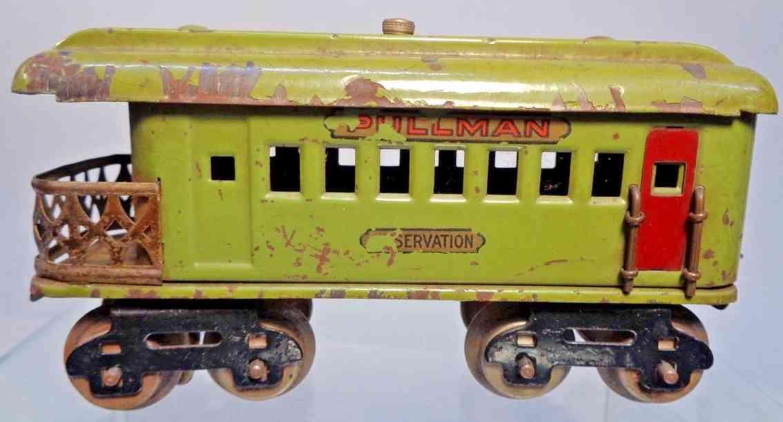 dorfan 491 spielzeug eisenbahn aussichtswagen olive gruen spur 0
