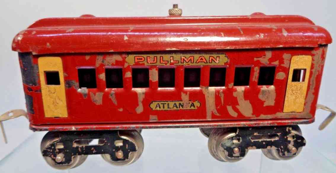 dorfan 495 railway toy pullman car maroon gauge 0