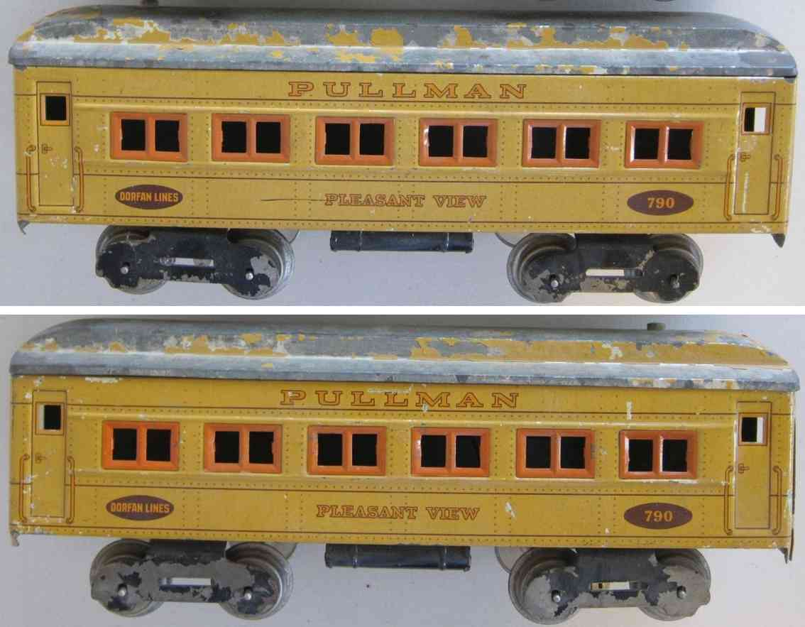 dorfan 790 railway toy passenger car pullmann pleasant view