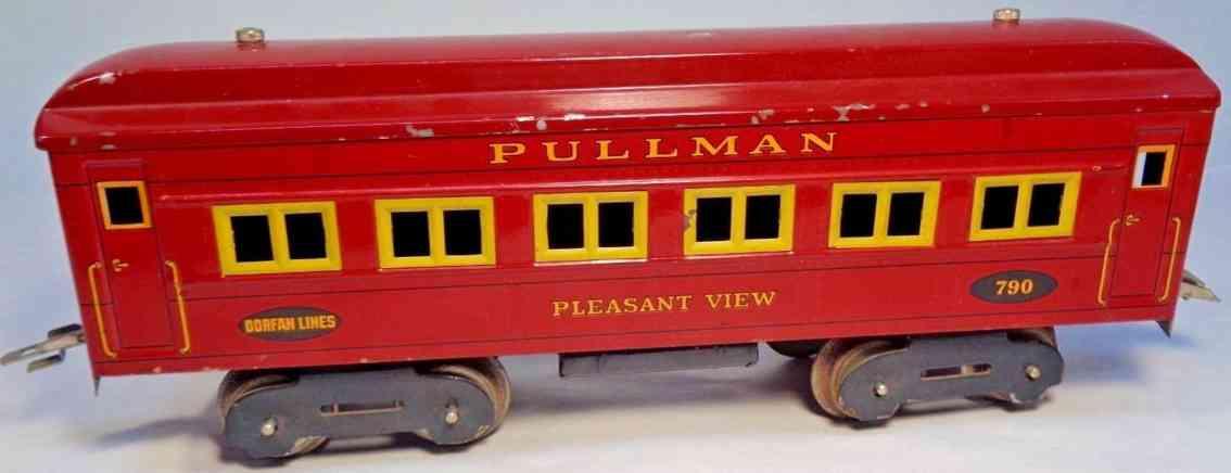 dorfan 790 spielzeug eisenbahn schlafwagen pullmann pleasant view rot wide gauge