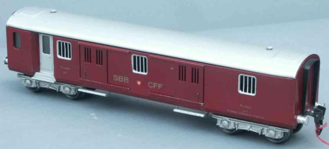 hag 152 A spielzeug eisenbahn personenwagen gepäckwagen; 4-achsig; in rot und silbergrau