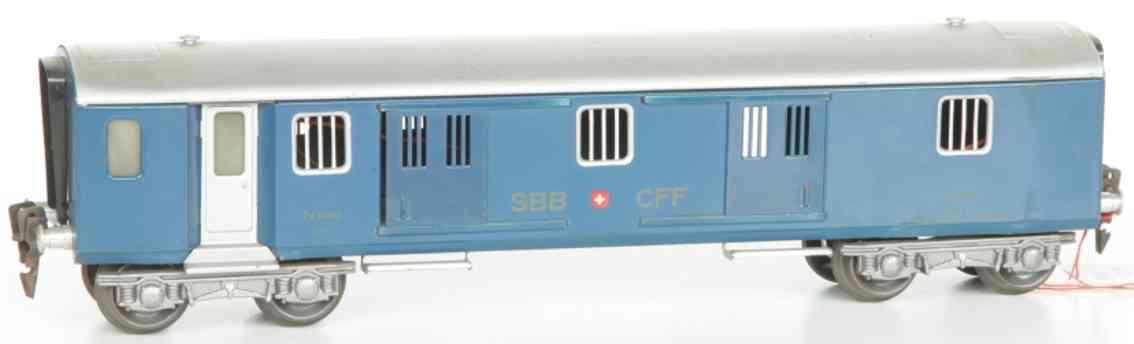 hag 152 A spielzeug eisenbahn personenwagen leichtschnellzug-gepäckwagen; 4-achsig; lithografiert in bla