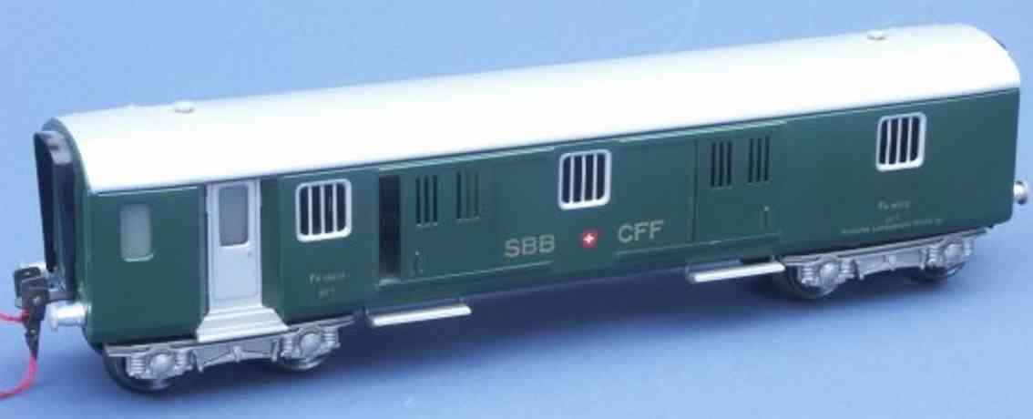 hag 152 A spielzeug eisenbahn personenwagen gepäckwagen 18902 der sbb+cff; 4-achsig; in dunkelgrün und s