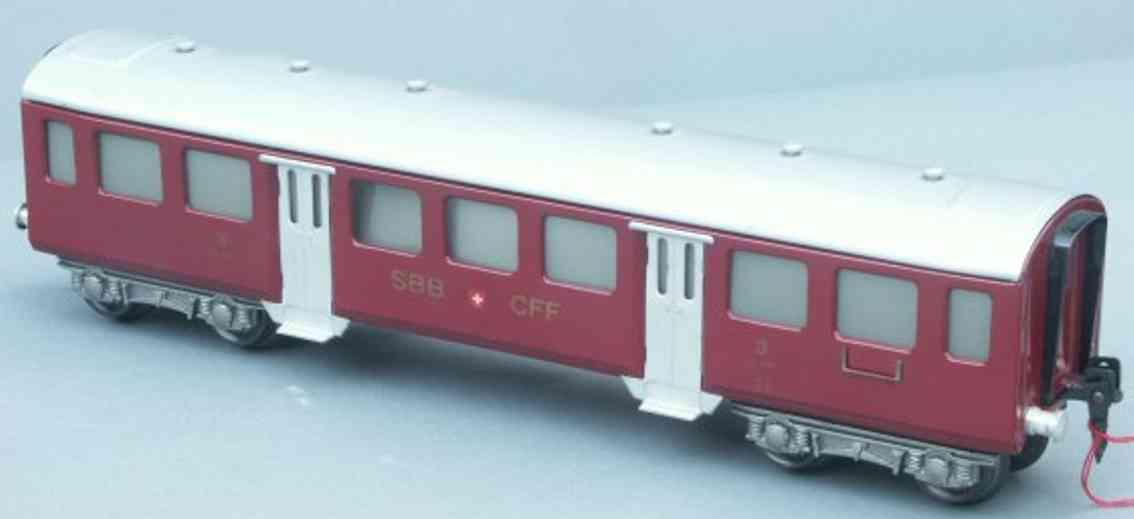 hag 157 A spielzeug eisenbahn personenwagen personenwagen; 4-achsig;  9671 der sbb+cff, 3. klasse in rot