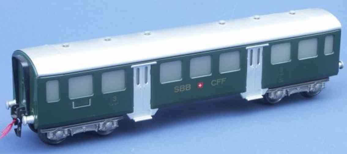 hag 157 A spielzeug eisenbahn personenwagen personenwagen; 4-achsig;  9671 der sbb+cff, 3. klasse in dun