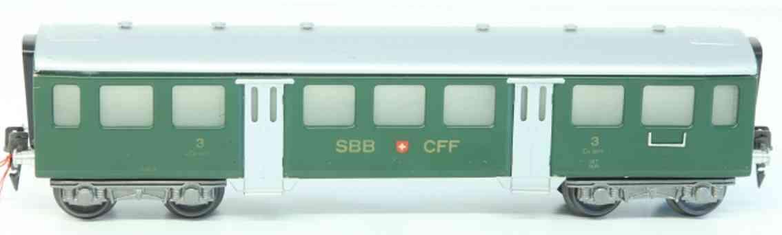 hag 157 A spielzeug eisenbahn personenwagen leichtschnellzugwagen der sbb+cff; 4-achsig; lithografiert i
